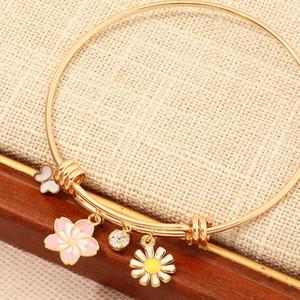 موضة جديدة الماس زهرة الفراشة سوار للمرأة قابل للتعديل فراشة سوار سوار الذهب هدية عيد الميلاد