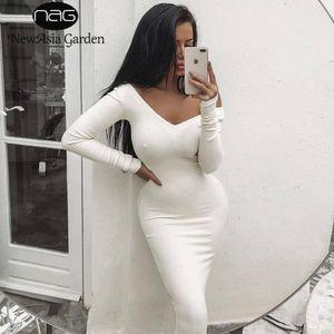 Newasia Garden Nervürlü Kış Beyaz Elbise Parti Bodycon Elbise Kadınlar Zarif Uzun Midi Sıska Seksi Elbiseler Kulübü Giyim Vestido