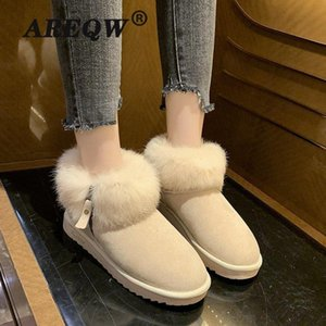 Real Hair Shoes Women Suede Fur Winter Snow Boots Female Pleated Plush Lining Warm Platform Felt Ankle Booties