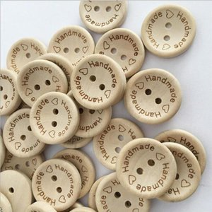 100 PCS lot Natural Color Wooden Buttons handmade love Letter wood button craft DIY apparel accessories