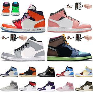Kutu nike air jordan 1 retro 1 1s off white Jumpman 1 1s Korkusuz Kadınlar Erkek Basketbol Ayakkabı Air Pembe Kuvars Açık Gri Satin ileÜrdün Yüksek OG Bio Hack Sneakers