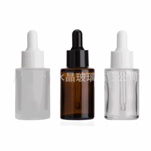 30ml Glass Bottle Flat Shoulder Frosted Clear Amber Glass Round Essential Oil Serum Bottle With Glass Dropper Packing Bottles 139 G2