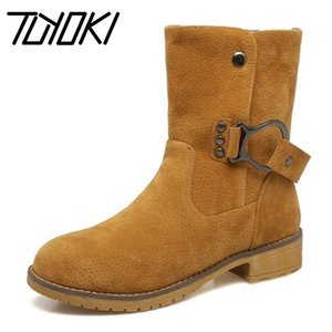 Hot Sale-Tuyoki Size 34-43 Women High Heel Boots Rivet Metal Buckle Half Short Boots Thick Fur Shoes Cold Winter Botas Women Footwears