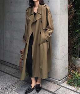 Mid-length waist windbreaker, long over-the-knee women's coat, autumn new style, high-end retro temperament loose top trendy