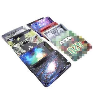 Newest Cartoon Logo Tobacco Rolling Tray Metal 12 Pattern Hand Roller Tobacco Grinder Smoking Accessories E Cigarettes Tool JXW693
