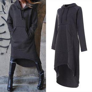 Plus Size Womens Sweatshirts Midi Hoodies Dress 2020 ZANZEA Irregular Vestidos Female Long Sleeve Casual Hooded Pullovers 5XL