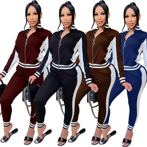 Striped Printed Panelled Designer Womens Pants Suits Sports Style Stand Collar Fashion Womens Clothing 2 Piece Set