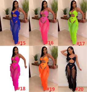 Adogirl Fluorescence Color Fashion Printed Swimsuit Mesh Two Piece Set Hollow Out Spaghetti Straps Bodysuit Swimwear