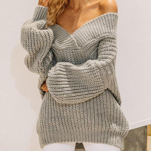 Women Sexy Slash Neck Off Shoulder Sweater Solid Color Oversized Soft Warm Jumper Casual Long Sleeve Knitted Sweater Dresses