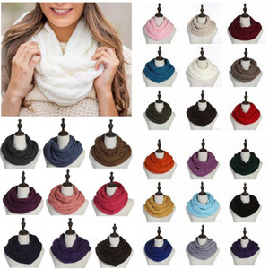 New Winter Scarf 35*140cm Circle Loop Scarf Women Wrap Scarves 25 Colors Thick Warmer Neck Big Kids Scarf With Logo Party Supplies HH9-3370