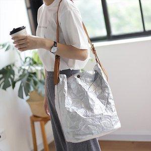 2020 Autumn New Design Korean Vintage Single Shoulder Concise Package Large Capacity Kraft Paper Handbag DA137