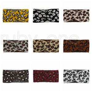 Frauen-Leopard-Strickstirnband Mode Criss Cross-Haar-Band-Winter-warme Woll Strickgelegenheitskopfbedeckung Partei-Bevorzugung 9styles RRA3651