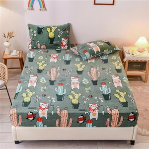 Sheets & Sets Mattress Cover Flannel Plant Pattern Warm Fitted Sheet With Elastic Winter Soft Bed For Double Drap De Lit Bedclothes