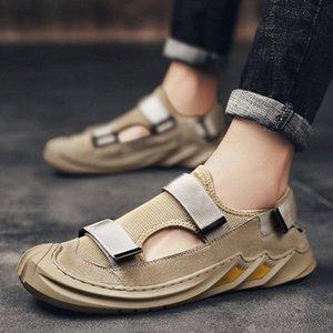 Sandali da uomo traspirante estate scarpe casual retrò tutto tondo Slip on Fashion Recreational Than's Canvas Shoes Sneakers Uomo # VU5B