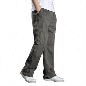 2020 Summer Men Harem Cargo Pants Big Tall Men Casual Many Pockets Loose Work Pants Male Straight Trousers Plus Size 4XL 5XL