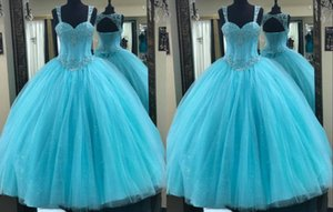 2021 Glitz Sequins Aqua Blue Quinceanera Prom dresses Ball Gown Keyhole Back Corset Crystal Beaded Tulle Sweet 15 Cheap Party Formal Dress