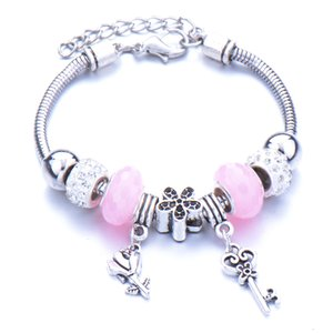 Zinc alloy Beaded Bracelet crown Pendant with large hole water drill lobster clasp in stock national style
