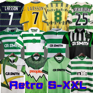 Celtic Retro 01 02 Futbol Formaları Ev 95 96 97 98 99 Futbol Gömlek Larsson Sutton Nakamura Keane Black Sutton 05 06 89 91 92 84 85
