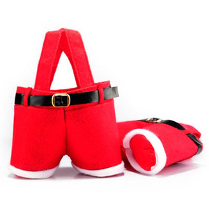 1Pc Merry Christmas Gift Bag Treat Candy Wine Bottle Holder Santa Claus Suspender Pant