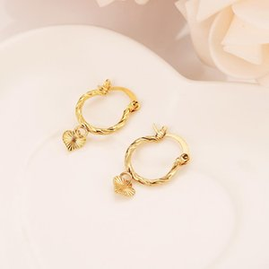 Gold Heart Earrings Women Girl Love Trendy Jewelry for African Arab Middle Eastern best gift wedding bridal earrings