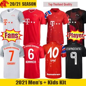 20 21 Bayern Munich Maglia da calcio SANE LEWANDOWSKI Versione tifosi e giocatore Bayern MULLER GNABRY ZIRKZEE DAVIES Maglia uomo Kit bambini