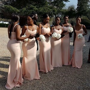 Jersey Pink Long Bridesmaid Dresses Spaghetti Mermaid robe mariage femme with Brush Train Wedding Party Dress for Maid of Honor