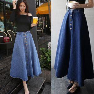in der langen Abschnitt der Frauen Jeansrock lange saia Jeans Feminina hohe Taille war dünn saia Jeans feminina ein Wort weiblichen Rock