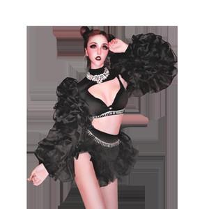 Kız Bar Yeni Nightclub Gogo Yaka Dans Kostümleri Göster Parti Seksi Sahne Kıyafetler Moda Suit Kostümler DS