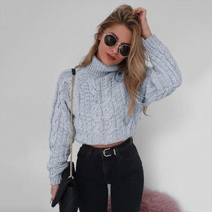 2018 Retro Twisted Turtleneck Sweater Autumn Winter Women Plus Size Thick Long Sleeve Short Pullovers Solid Slim Coats