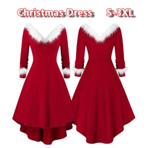 New Womens Vintage Santa Christmas Dress Printed Dress Ladies Long Sleeve Dresses Sexy Xmas Party Festival Dress S-3XL