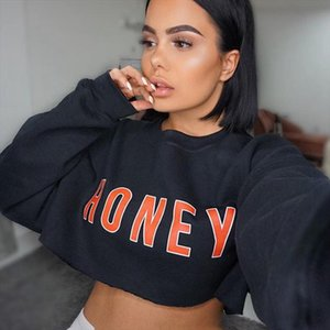 Fashion Black Long Sleeve Crop Top Women Honey Letter Print Sexy Tee Ladies Autumn Pullover T Shirts Loose Hoodie Dropshipping