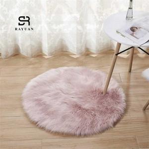 RAYUAN redondo rosado de piel de oveja Hairy Alfombra Faux tapiz de asiento del cojín de piel normal mullido suave manta de área de 30 140 cm Tapetes ED3n #