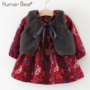 Mizah Bear Yeni Sonbahar Stil Bebek Kız Prenses Elbise Kadife Uzun Kollu Elbise Parti Elbiseler Bebek Giysileri Bebek Giyim Q1223