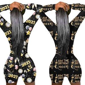 Io sono la regina di compleanno 2021 Ladies Open Back Pagliaccetto Pantaloncini a maniche lunghe tuta Pigiama Suit Back Butt Bum Open Ass Rompers Body E122901
