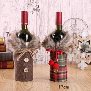 DHL Fast Delivery New Wine Cover with Bow Plaid Linen Bottle Clothes with Fluff Creative Wine Bottle Cover Fashion Christmas Decoration