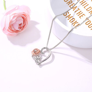 Fashion Rose Heart Pendant Valentines Designer Necklace Womens Jewelry Gifts Women Zircon Allloy Necklace Valentines Day Gift VTKY2329