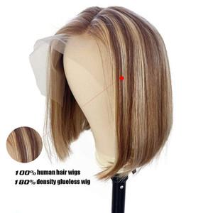 180% de densidad Ombre Bob Wigs U parte Pelucas de cabello humano Destacan Barato corto 4x4 Cierre de encaje Frente De Color Peluca Bob Para Mujeres Negras