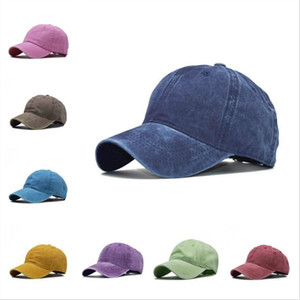 Washed Ponytail Cap Solid Color Summer Baseball Cap Breathable College style hole hair Hats Video Sun Caps JXW799