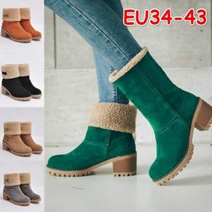 Women Shoes Snow boots Ladies Flock Warm Boots Solid Romon Middle 3cm Heel High Martin casual Hairy Side