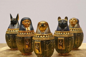 Wholesale-Egyptian Canopic Jar Set of 5 - Hapi Duamutef Imseti Qebehsenuef Burial Urn Home Decor Statue Egypt 18cm height xxbM#