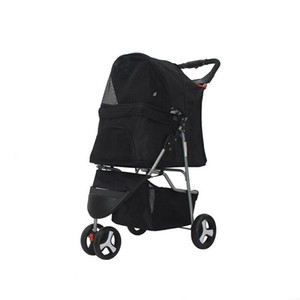 3-Wheel Folding Pet Stroller Travel Carrier Carriage For Cats And Dogs- Black