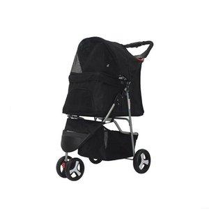 3-roda dobrável pet carrinho de passeio transporte transportador de viagens para gatos e cães- preto