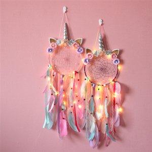 Dreamcatcher Decoración del hogar Unicornio Chica de la pared Accesorio de pared LED Mano hecho a mano Dream Catcher Braiding Wind Chimes