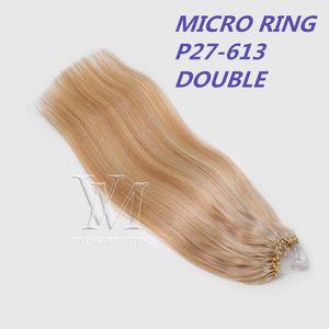 Vmae 11А салон Европейский Русский Micro кольцо Loop Micro Link Beads шелковистой прямой кератина Fusion Ombre Blonde Remy девственницы человеческих волос