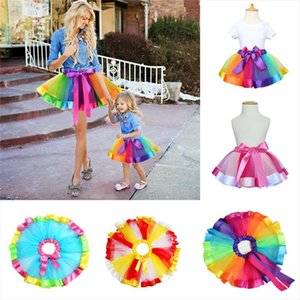 Mother Daughter Girl Women Rainbow Skirt Adult Kids Tutu Dancing Ballet Skirt Multicolour Petticoat Tulle Skirts 2020 New