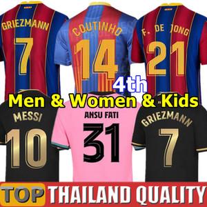 20 21 برشلونة قمصان كرة القدم أنسو فاتي 2020 ميسي غريزمان دي يونج باجانيك كوتينهو مجموعة قميص كرة القدم رجال نساء طقم الاطفال زي رسمي