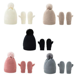 New Warm Children's Knitted Hats Gloves Suits Winter Pompon Ball Crochet Cap Mitten Set for Boys and Girls