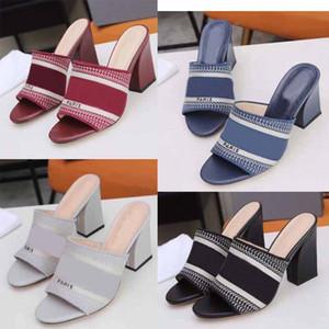 Paris sandales lettre dames de mode design talon compensé épais talon antidérapante pantoufles rétro été résistant à l'usure des sandales brodées dames