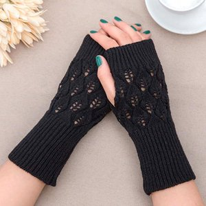 Winter Warm Fingerless Knitted Gloves For Women Acrylic Stretch Half Finger Arm Glove Crochet Knitting Faux Girls Mitten Gloves