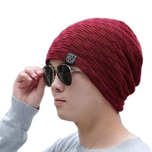 Fashionable new popular men's winter Pullover high quality knitted brimless Wool hat Cotton